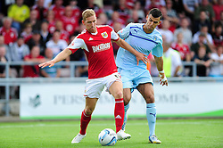 Bristol City's Scott Wagstaff is closed down by Coventry City's Conor Thomas  - Photo mandatory by-line: Dougie Allward/JMP - Tel: Mobile: 07966 386802 11/08/2013 - SPORT - FOOTBALL - Sixfields Stadium - Sixfields Stadium -  Coventry V Bristol City - Sky Bet League One