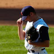 MORNING JOURNAL/DAVID RICHARD<br />Pitcher Jake Westbrook pulls his cap over his eyes after giving up a 3-run home run to Tadahito Iguchi yesterday in the seventh inning at Jacobs Field.