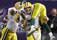 (2006)-Green Bay's Brett Favre and Donald Driver celebrate Drivers 82-yard touchdown on a Brett Favre pass late in the 2nd quarter. .The Green Bay Packers traveled to the Metrodome to play the Minnesota Vikings Sunday November 12 , 2006. Steve Apps-State Journal.