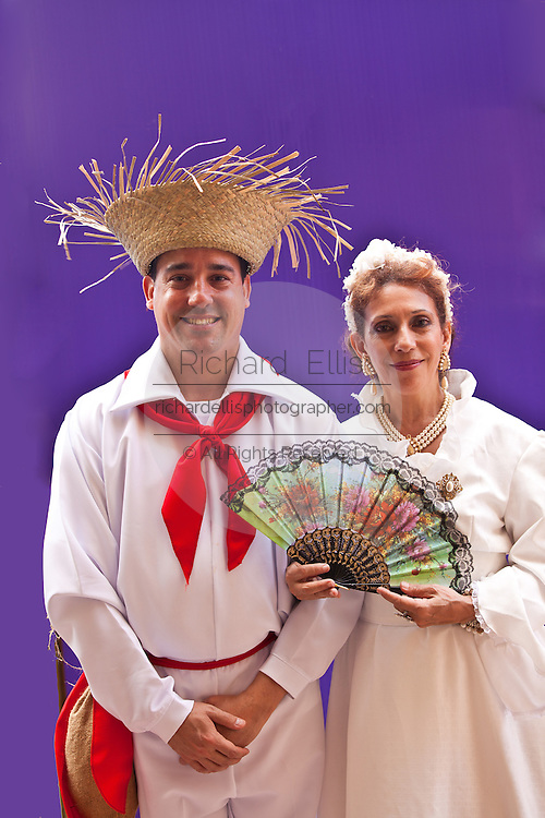 A couple dressed in traditional Puerto Rican costume at the Festival of San Sebastian in San Juan, Puerto Rico.