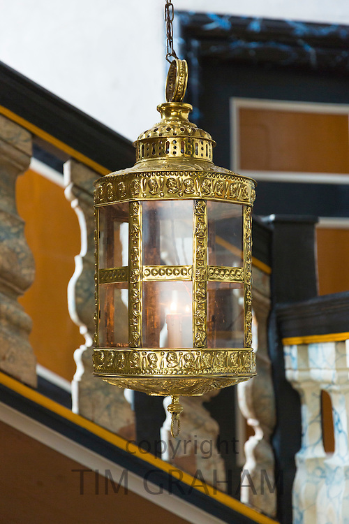 Detail of lamp at Den Gamle By, The Old Town, open-air folk museum at Aarhus,  East Jutland, Denmark