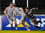 Sale Sharks full back Luke James makes a break during a Gallagher Premiership Round 7 Rugby Union match, Friday, Jan. 29, 2021, in Leicester, United Kingdom. (Steve Flynn/Image of Sport)