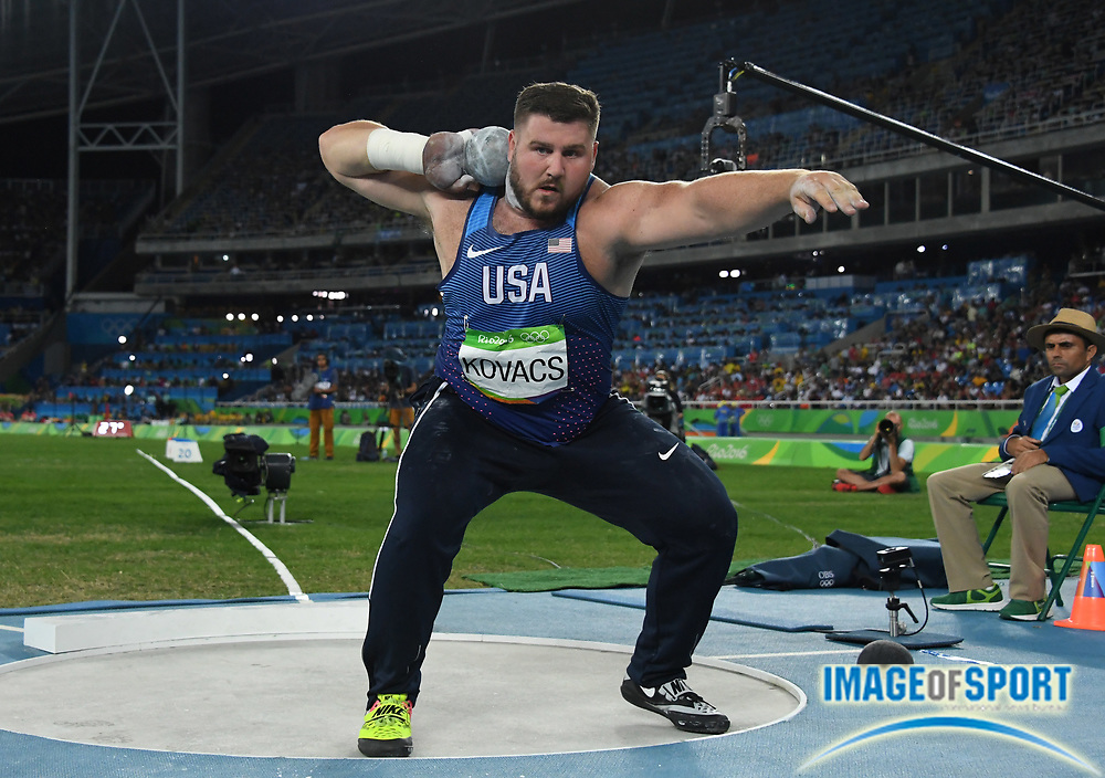 Aug 18, 2016; Rio de Janeiro, Brazil; Joe Kovacs (USA) places second in the shot put at 71-5½ (21.78m) during the 2016 Rio Olympics at Estadio Olimpico Joao Havelange.