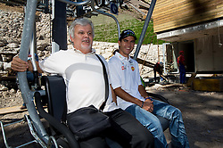 Branko Vekic and Jernej Damjan at media day of Slovenian Ski jumping team during construction of two new ski jumping hills HS 135 and HS 105, on September 18, 2012 in Planica, Slovenia. (Photo By Vid Ponikvar / Sportida)
