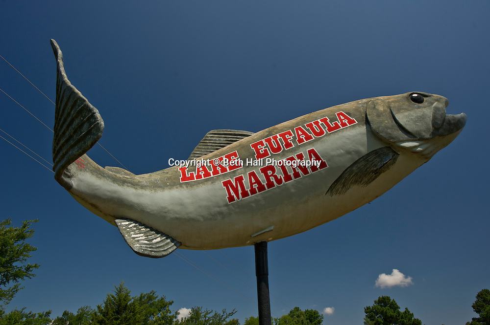 Stock photography of the a fish sign at Lake Eufaula State Park and Marina in Eufaula, Oklahoma.