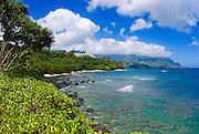 Hideaways Beach and lush coastline from Princeville, Island of Kauai, Hawaii