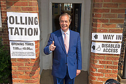 © Licensed to London News Pictures. 23/05/2019.<br /> Downe,UK. Mr Farage arriving at the polling station. Brexit Party leader Nigel Farage voting in the European elections at Cudham C of E primary school, Downe, Kent. Photo credit: Grant Falvey/LNP