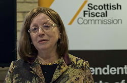 Pictured: Dame Susan Rice, Scottish Fiscal Commission chair <br /> <br /> The Scottish Fiscal Commission team, led by Dame Susan Rice, met journalists today and gave a short presentation on their five-year economic forecasts following the Scottish budget announcement.<br /> <br /> Ger Harley   EEm 13 December 2018