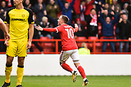 Nottingham Forest midfielder Barry McKay (10) celebrates after scoring a goal to make it 1-0 during the EFL Sky Bet Championship match between Nottingham Forest and Burton Albion at the City Ground, Nottingham, England on 21 October 2017. Photo by Jon Hobley.