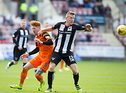 Dundee United's Simon Murray and Dunfermline's Lee Ashcroft. Dunfermline 1 v 3 Dundee United, Scottish Championship game played 10/9/2016 at East End Park.