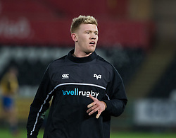 Ospreys' Dafydd Howells during the pre match warm up<br /> <br /> Photographer Simon King/Replay Images<br /> <br /> Anglo-Welsh Cup Round 4 - Ospreys v Bath Rugby - Friday 2nd February 2018 - Liberty Stadium - Swansea<br /> <br /> World Copyright © Replay Images . All rights reserved. info@replayimages.co.uk - http://replayimages.co.uk