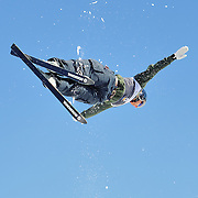 Nevin Brown performs aerial acrobatics during the 2009 Sprint US Freestyle Championships held at the Utah Olympic Park in Park City on March 8, 2009.