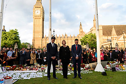 © Licensed to London News Pictures. 17/06/2016. Labour politicians Ed Milliband, Harriet Harman and Wes Streeting attend a two minutes silence with well wishers in Parliament Square in memory of Labour party MP JO COX. She was allegedly attacked and killed by suspect 52 year old Tommy Mair close to Birstall Library near Leeds. London, UK. Photo credit: Ray Tang/LNP