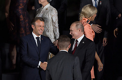 Russia President Vladimir Putin and French President Emmanuel Macron during family photo session on the first day of the G20 summit in Osaka, Japan on June 28, 2019. Photo by Jacques Witt/Pool/ABACAPRESS.COM