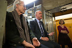 EDITORIAL USE ONLY<br /> Actor Larry Lamb talks with Museum of London curator Jackie Keily and former police commander Peter Spindler at the Hatton Garden Safe Deposit, in Hatton Garden, London, which was at the centre of a high profile heist in 2015 by a gang of career criminals who stole £14 million worth of jewels.