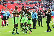 FGR players celebrate at the final whistle during the Vanarama National League Play Off Final match between Tranmere Rovers and Forest Green Rovers at Wembley Stadium, London, England on 14 May 2017. Photo by Shane Healey.