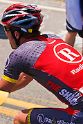 Professional cyclist at the Amgen Tour of California, Santa Monica Mountains, California