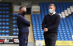 Peterborough United Manager Darren Ferguson talks with Oxford United manager Karl Robinson before the match - Mandatory by-line: Joe Dent/JMP - 17/10/2020 - FOOTBALL - Weston Homes Stadium - Peterborough, England - Peterborough United v Oxford United - Sky Bet League One