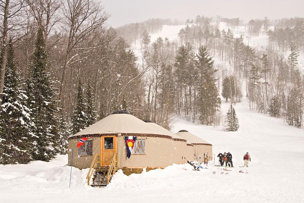 Yurts are used for lodging at Mount Bohemia ski resort in Michigans Upper Peninsula.