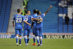 Kazenga LuaLua ( R ) of Brighton & Hove Albion celebrates with team mates after he scores the opening goal to make it 1-0 - Mandatory byline: Paul Terry/JMP - 07966386802 - 07/08/2015 - FOOTBALL - Falmer Stadium -Brighton,England - Brighton v Nottingham Forest - Sky Bet Championship