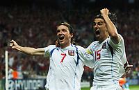 Vladimir Smicer celebrates scoring 3rd goal with team mate Milan Baros<br />Czech Republic EURO 2004<br />Holland v Czech Republic 19/06/04 EURO 2004 PORTUGAL<br />Photo Robin Parker Fotosports International
