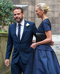 © London News Pictures. 05/03/2016. London, UK. ECHLIN MURDOCH and his wife SARAH attends a ceremony to mark the wedding of Rupert Murdoch and Jerry Hall held at St Brides Church on Fleet Street,  central London on February 05, 2016. . Photo credit: Ben Cawthra /LNP