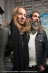 Just engage - Cassandra and Michael Barragan at the Mooneyes Yokohama Hot Rod & Custom Show after-party at Mooneyes headquarters. Yokohama, Japan. December 7, 2015.  Photography ©2015 Michael Lichter.