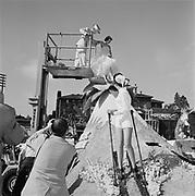 Y-590613-D1-05. assembling in Multnomah Stadium. Rose Festival Grand Floral Parade, June 13, 1959