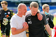 Barnsley Manager Gerhard Struber and Barnsley First Team Coach Max Senft after the EFL Sky Bet Championship match between Queens Park Rangers and Barnsley at the Kiyan Prince Foundation Stadium, London, England on 20 June 2020.