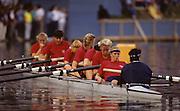 Bled, Slovenia, YUGOSLAVIA.  USA W8+, finalist.  .Bow. Kelley JONES, Shelagh DONOHOE, Lisa BELUCHE, Fritzi GREVSTAD, Amy BALTZELL, Amy FULLER, Carol FEENEY Stroke Audrey BARNETT cox Yasmin FAROOQ 1989 World Rowing Championships, Lake Bled. [Mandatory Credit. Peter Spurrier/Intersport Images]