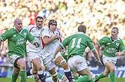 Twickenham. Surrey, UK., 16th February 2002, Six Nations International Rugby,  RFU Stadium, England vs Ireland,  [Mandatory Credit: Peter Spurrier/Intersport Images],<br /> <br /> The Lloyds TSB Six Nations Championship<br /> England v Ireland<br /> RFU - Twickenham<br /> 16/02/2002<br /> Ben Kay on the charge. backed up by Martin JOHNSON,