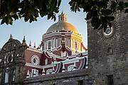 The Capilla del Sagrario Metropolitano exterior facade, on the city plaza in the historic center of Puebla, Mexico.