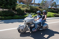 Jason Sims, the director of the 2016 Motorcycle Cannonball, with his wife Lee Ann on the last day of the Motorcycle Cannonball Race of the Century. Stage-15 ride from Palm Desert, CA to Carlsbad, CA. USA. Sunday September 25, 2016. Photography ©2016 Michael Lichter.