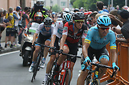 36 Luis León Sánchez Astana Pro Team leads 62 Alessandro De Marchi BMC Racing Team with 20km left during stage 17 of the Giro D'Italia, Iseo Italy on 23 May 2018. Picture by Graham Holt.