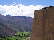 Looking across the Urubamba River valley towards Cachicata from atop Ollantaytambo, in the Sacred Valley, Peru.
