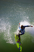 Kanoa Igarashi competing in the Katin Pro/Am surf competition at Huntington Beach Pier, Orange County, California.