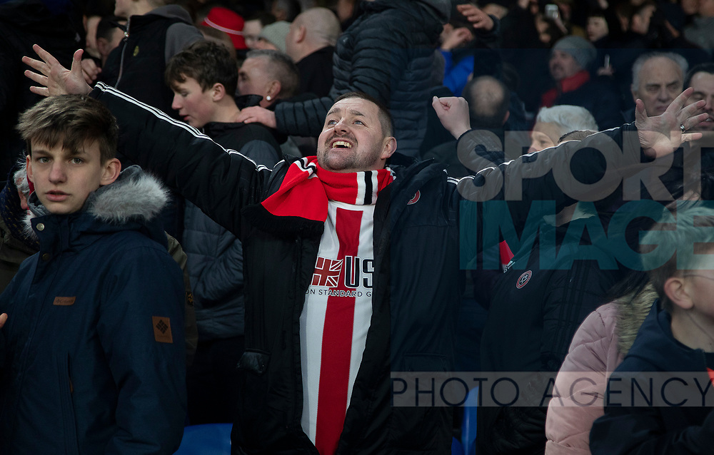 A Sheffield United fan celebrates after the Premier League match at Selhurst Park, London. Picture date: 1st February 2020. Picture credit should read: Paul Terry/Sportimage
