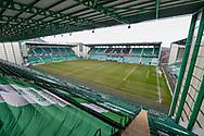 General view inside Easter Road Stadium, Edinburgh, Scotland before the SPFL Premiership match between Hibernian FC and Motherwell FC on 27 February 2021.