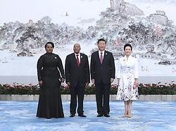 (170904) -- XIAMEN, Sept. 4, 2017 (Xinhua) -- Chinese President Xi Jinping and his wife Peng Liyuan welcome South African President Jacob Zuma and his wife before a banquet for those attending the ninth BRICS summit and the Dialogue of Emerging Market and Developing Countries in Xiamen, southeast China's Fujian Province, Sept. 4, 2017. (Xinhua/Ma Zhancheng) (mcg) (Photo by Xinhua/Sipa USA)
