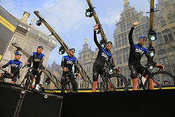 Team Sky on stage at the team presentation in Antwerp before the start of the 2019 Ronde Van Vlaanderen 270km from Antwerp to Oudenaarde, Belgium. 7th April 2019.<br /> Picture: Eoin Clarke | Cyclefile<br /> <br /> All photos usage must carry mandatory copyright credit (© Cyclefile | Eoin Clarke)