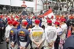 May 26, 2019 - Monte Carlo, Monaco - Motorsports: FIA Formula One World Championship 2019, Grand Prix of Monaco, ..F1 drivers wear red hats in tribute to Niki Lauda (22.02.1949 - 20.05.2019) (Credit Image: © Hoch Zwei via ZUMA Wire)