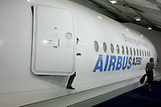 A scaled model of an Airbus A350 airliner at the Farnborough Airshow.