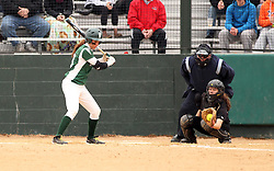 30 March 2013:  Allie Riordan during an NCAA Division III women's softball game between the DePauw Tigers and the Illinois Wesleyan Titans in Bloomington IL<br />