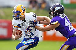 19.06.2016, FAC Stadion, Wien, AUT, AFL, AFC Vienna Vikings vs Projekt Spielberg Graz Giants, im Bild Christoph Gubisch (Projekt Spielberg Graz Giants, QB, #5) und Marco Aigner (Vienna Vikings) // during the AFL game between AFC Vienna Vikings vs Projekt Spielberg Graz Giants at the FAC Stadion, Vienna, Austria on 2016/06/19. EXPA Pictures © 2016, PhotoCredit: EXPA/ Thomas Haumer