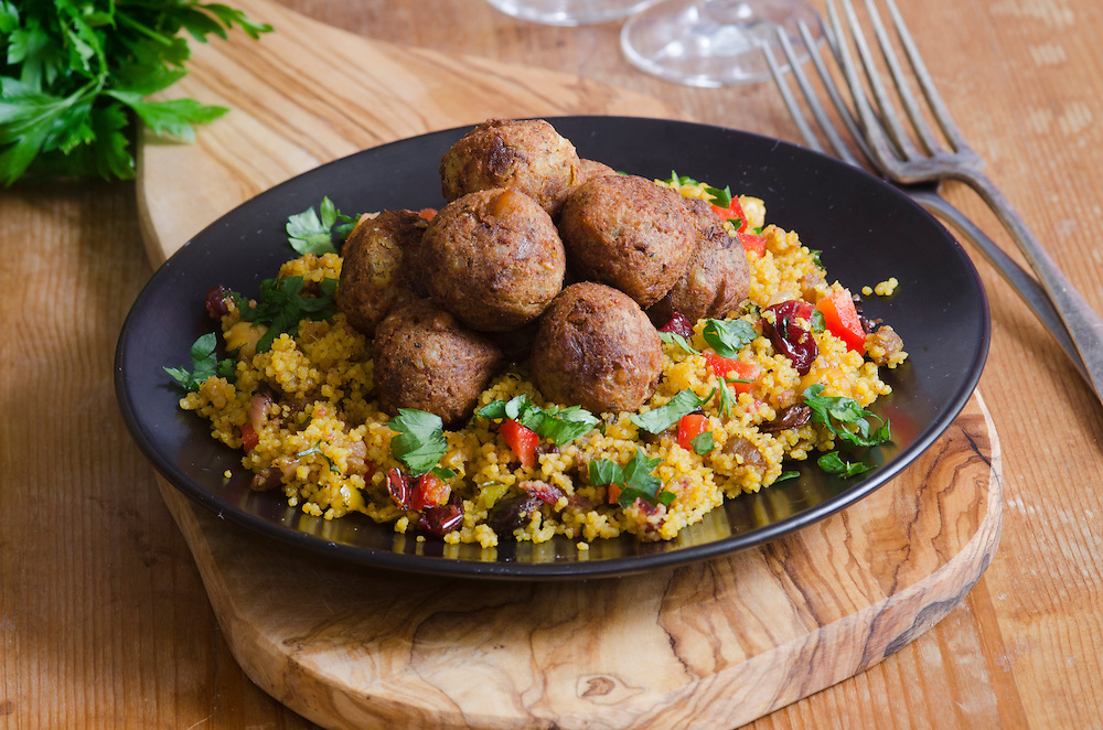 Moroccan spiced falafels with couscous and herbs