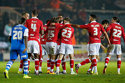 Bristol City players celebrate with Luke Freeman after he scores his second goal to make it 0-3 - Photo mandatory by-line: Rogan Thomson/JMP - 07966 386802 - 28/11/2014 - SPORT - FOOTBALL - Peterborough, England - ABAX Stadium - Peterborough United v Bristol City - Sky Bet League 1.