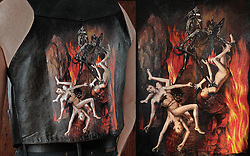 Acrylic on leather. A tribute to Hans Memling's Last Judgement Triptych circa 1467-1471. This vest is for sale. See more works on leather here: https://wkimagery.photoshelter.com/gallery/Leather-Painted-By-Worthless/G0000afp86E8IZuo/C0000gL2He6QENyA