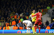 Son Heung-Min of Tottenham Hotspur slumps dejected after the final whistle. UEFA Europa League round of 16, 2nd leg match, Tottenham Hotspur v Borussia Dortmund at White Hart Lane in London on Thursday 17th March 2016<br /> pic by John Patrick Fletcher, Andrew Orchard sports photography.