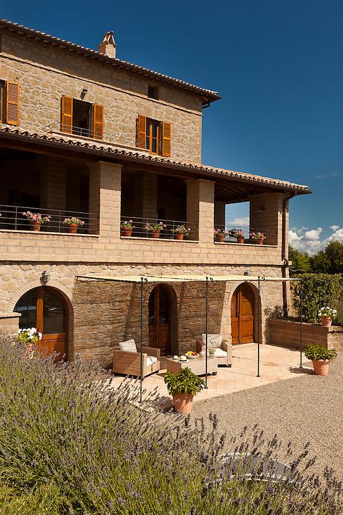 Villa San Donato in Italy, on the border between Tuscany and Lazio.  The lower terrace pergola/games area.