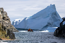 Checking Out Massive Iceberg, Spert Island, Off Trinity Island, Antarctica